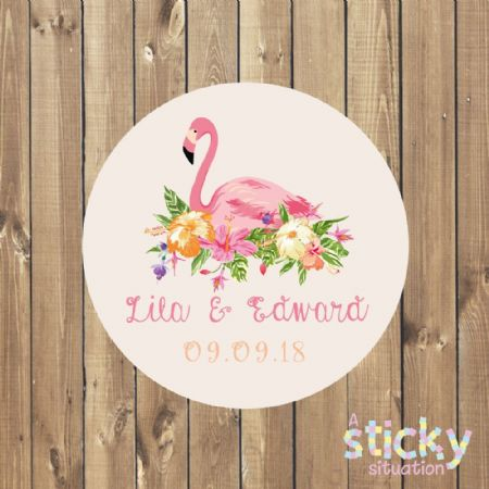 Personalised Wedding Stickers - Tropical Flamingo Design